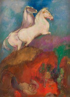 Odilon Redon (1840-1916), La Chute de Phaéton, vers 1905-1910, huile sur carton toilé, 33 x 24 cm, annotée au dos «À Léon Fayet - appartient à Léon Fayet». Adjugé : 197 500 € Mardi 15 novembre, salle 9, et vendredi 18 novembre, salle 5 - Drouot-Richelieu. Ader OVV.