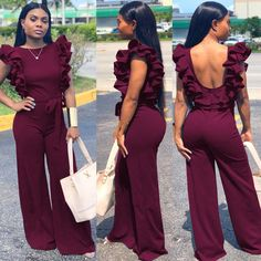 Women Elegant Backless Ruffles Wide Leg Jumpsuits 2019 New High Waist Sleeveless Bandage Rompers Casual Long Overalls Chic Outfits, Trendy Outfits, Fashion Outfits, Fashion Shoes, Rompers Women, Jumpsuits For Women, Older Women Fashion, Womens Fashion, Long Overalls