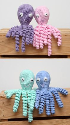 Crochet Preemie Octopus Amigurumi - Mini Crochet Octopus Baby Shower Gift Idea - Preemie Newborn Lovey - Any Color  Adorable crocheted Octopus. Made with 100% cotton yarn. Machine washable warm/hot, medium dry, pre wash using a free and clear detergent before giving to baby. :) To keep the tentacles from losing their springiness and shape, wash the lovey in a mesh garment bag (lingerie/underwear bag) The body measures approximately 3 and the tentacles are approximately 6.  I can mak...