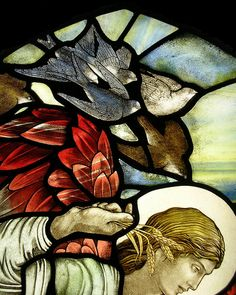 The Glebe House Bibury, Gloucestershire, UK. Detail from a stained glass window by Benjamin Finn. finnbenjamin@hotmail.com