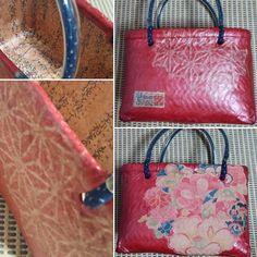 「赤 古布と麻の葉」知人の年配の方へのプレゼントだそうです Japanese Paper, Shopping Bag, Paper Crafts, Louis Vuitton, Tote Bag, Purses, Boutique, Bags, Sewing