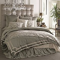 """I was completely over the """"gray trend"""" about 60 seconds after it started.  And over the past 2 years, I've wanted to simplify my bedding--get something staightforward, smooth, less pillows.  Then I saw this bedding ensemble at Layla Grayce.  Everything I don't want, yet it's beautiful.  Lili Alessandra Versailles Silver Duvet Cover or Set"""