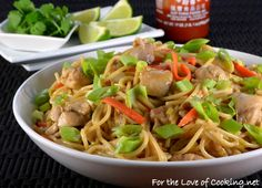 Thai Peanut Chicken Pasta | For the Love of Cooking
