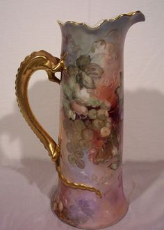 JP Limoges Dragon Handle Tankard with Hand Painted Grapes from yas1 on Ruby Lane