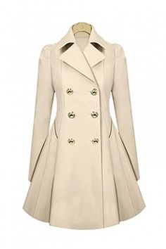 Celebrity Fashion Turndown Collar Long Sleeves Double-breasted Apricot Long Trench Coat - Was And Now - online shopping with discounted prices Pink Trench Coat, Double Breasted Trench Coat, Long Beige Coat, Beige Trenchcoat, Coat Dress, Peplum Coat, Coats For Women, Casual, Polyvore