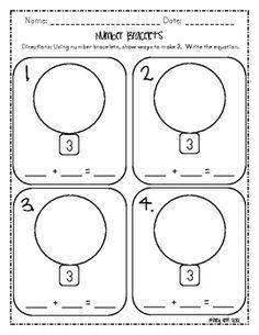 Number Bracelets Common Core K.OA.3  Printable