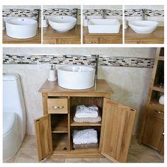 Bathroom Vanity Unit Oak Cabinet Furniture Wash Stand & White Ceramic Basin 503