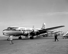 https://flic.kr/p/dTX1z9   Chicago Midway Airport - Great Lakes Airlines - DC-4   (21Apr57) (N65141) Great Lakes was a  Non-Scheduled Airline (many popped up after WW2 because of the availability of cheap surplus aircraft). This one ran from 1946-1962.