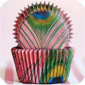 cute cupcake wrapper for peacock feather wedding cupcakes!