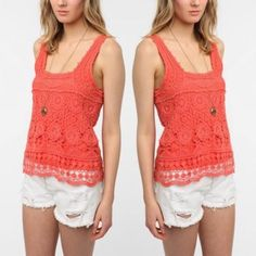 • Urban Outfitters • Crochet Top Perfect for spring, pair this crochet top with your fav cut off denim! Urban Outfitters Tops Tank Tops