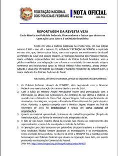 FENAPEF - Carta Aberta aos Policiais Federais, Procuradores e Juízes que atuam na Operação Lava Jato e à sociedade brasileira