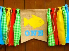 Fishing Camping Birthday Banner Highchair High by SeacliffeCottage