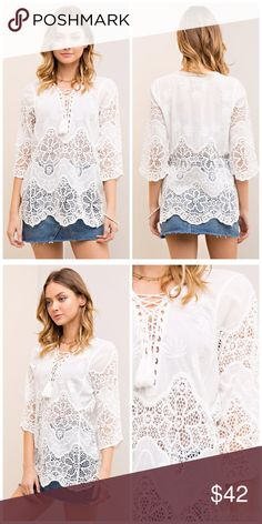 Beautiful white crochet tunic - lace up PREORDER Solid crochet scallop hem blouse featuring v-neck with lace-up detail. 3/4 sleeves. Partially Sheer. Woven. Lightweight. 100%COTTON Tops Tunics