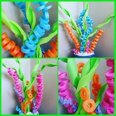 Supplies Needed: Pool noodles Box cutter (adults only!) Wire hangers Here's a fun summer craft to do for under the sea birthday parties, etc! Just careful use a box cutter and make spirals to look like seaweed. Then cut small circles and thread onto a wir Under The Sea Theme, Under The Sea Party, Little Mermaid Parties, The Little Mermaid, Coral Reef Craft, Pool Noodle Crafts, Under The Sea Decorations, Shark Party, Mermaid Birthday