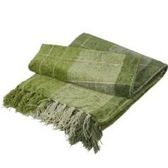 Colorado Chenille Checked Chequered Fringe Throw Blanket Green 127cm x 152cm: Amazon.co.uk: Kitchen & Home