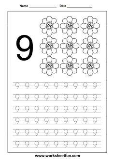 Number Tracing worksheet - 9
