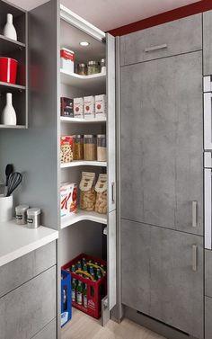 "Képtalálat a következőre: ""u shaped kitchen with corner pantry"" Corner Kitchen Pantry, Simple Kitchen Cabinets, Corner Cupboard, Kitchen Storage, Corner Cabinets, Tall Cabinets, Corner Door, Corner Space, Space Kitchen"
