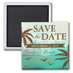 Tropical Teal Scenic Beach Save the Date Magnets