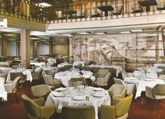 The subtle, two-tiered elegance of the Tourist Class Salle a Manger (Dining Room) of the France of the Compagnie Générale Transatlantique, more commonly known as The French Line. 1962. Image courtesy the private collection of John Cunard-Shutter.