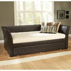 Fully-upholstered in leatherContemporary design with gently sleighed armsVersatile brown leatherOptional trundle and mattressesPadded back and sides for increased comfort93.5L x 42.5W x 45H inches $559.99 [$729.99 with trundle]