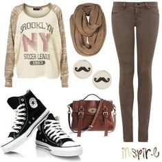 Back To School Outfit Trends 2013 Back School Outfits, Spring Outfits For School, Cute Spring Outfits, Fall Winter Outfits, Outfits For Teens, Casual Outfits, Hipster Outfits, School Pics, Look Fashion