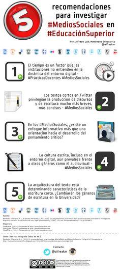 Redes Sociales en la Educación Superior Vía: @Alfredo Menendez #infografia #infographic #socialmedia #education