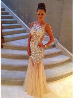 Simple-dress 2015 Sexy Mermaid Scoop Long Sleeveless Tulle Beading Backless Prom  Dress Evening 8efcb899a4b8