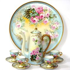 Limoges Antique Hand Painted Roses chocolate coffee set.