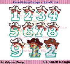 Pirate embroidery design birthday pirate by GLStitchStudio on Etsy, $7.99
