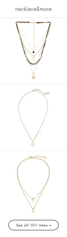 """""""necklace&more"""" by arwaroro48 ❤ liked on Polyvore featuring jewelry, necklaces, accessories, colares, collares, gold tone necklace, multi strand necklace, lobster clasp charms, multi layer chain necklace and lobster claw clasp charms"""