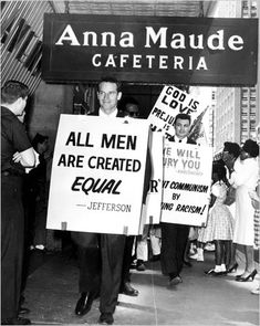 Charlton Heston picketing a restaurant in the 1960's protesting their discrimination against people of color.