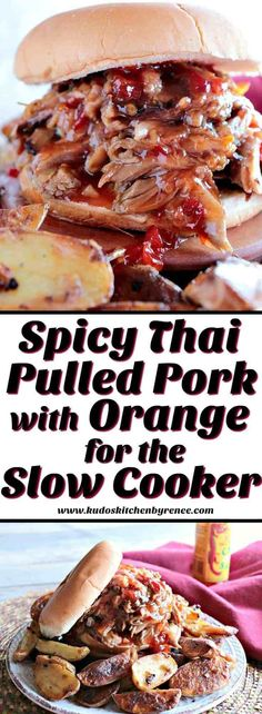 Sweet with a little heat. That's what you'll find in this delicious Spicy Thai Pulled Pork recipe. Mix everything up in the slow cooker and then go about your day. You really can't get much easier (or tastier) than that! And it feeds a crowd, too!! - www.