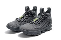 b2ad295cf77c Authentic New Style Nike LeBron 15 Mens Basketball Shoes Sneakers Wolf Grey  Green Discout Sale
