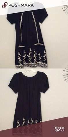 Embroidered Dress Black with beige embroidered flowers, short sleeve, 87% cotton, dress. Rhapsody Dresses