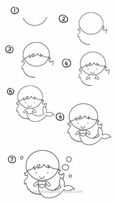 How to Draw a Cartoon Mermaid Step by Step – Cute Easy Drawings - therezepte sites Easy Doodles Drawings, Easy Doodle Art, Easy Drawings For Kids, Cute Little Drawings, Simple Doodles, Kawaii Drawings, Art Drawings Sketches, Drawing For Kids, Cute Drawings