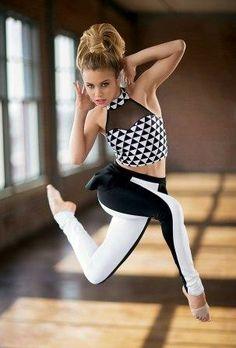 Dancewear Solutions   Print Halter Crop Top & Colour-Block Peplum Leggings