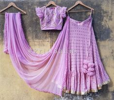 Blush pink raw silk blouse with placement pearl and zardozi embroidery and sky blue net umbrella gathered skirt. The dupatta is in sky blue net with scallop and pearl border detailing. Party Wear Lehenga, Red Lehenga, Indian Lehenga, Lehenga Choli, Anarkali, Half Saree Designs, Lehenga Designs, Blouse Designs, Indian Wedding Outfits