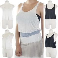 ebclo - Super Lightweight Crop Tank Top with Merrowed Hem  $10.00 Free Domestic Shipping