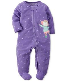 Carter's 1-Pc. Dot-Print & Monkey Footed Coverall, Baby Girls (0-24 months)