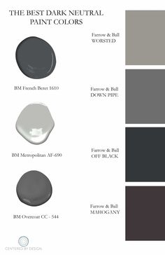 The Best Dark Paint Colors To Use for Your Home Interior Interior design article with advice on the best dark paint colors to use in your home. Best dark paint colors include Farrow & Ball Off Black and more. Best Gray Paint Color, Neutral Paint Colors, Bedroom Paint Colors, Exterior Paint Colors, Exterior House Colors, Paint Colors For Home, Dark Gray Paint, Small Bathroom Paint Colors, Black Painted Walls