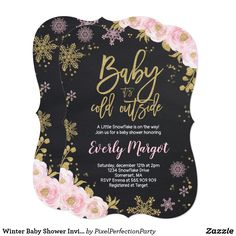 Winter Baby Shower Invitation Pink Gold Snowflake Winter Baby Shower Invitation.   The Glitter effect within this design is a digital image made to look like real glitter.   High quality and still gorgeous, but no actual real glitter will be used in the making of this product.   All designs are © PIXEL PERFECTION PARTY LTD