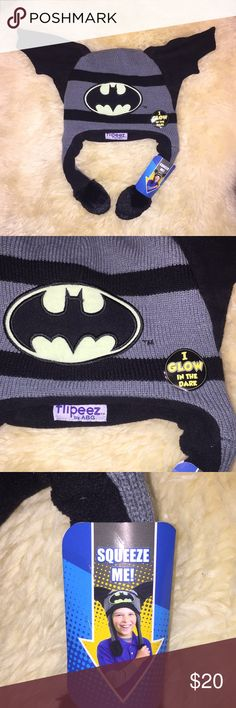 Batman Kids winter hat NWOT Batman boys winter hat one size squeeze me style the ears open up when squeezed gray and black color Batman Accessories Hats