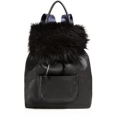Elizabeth and James Langley Fur Backpack (9.710 ARS) ❤ liked on Polyvore featuring bags, backpacks, black, draw string bag, elizabeth and james bags, elizabeth and james backpack, drawstring bag and backpack bags