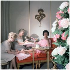 Gloria Vanderbilt receiving manicure and pedicure at the House of Revlon by Horst P. Horst. ca. 1961b