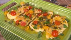 HALIBUT WITH PEPITAS, CAPERS, CHERRY TOMATOES, AND BASIL