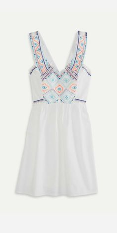 Light simple embroidered thin strap mini dress