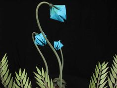 Fern Plant with Blue Lady Slippers Origami Ikebana by Benagami, $2,700.00
