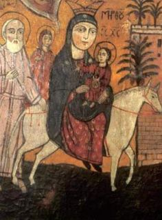 Coptic icon from the 17th century of the Holy Family's flight into Egypt: