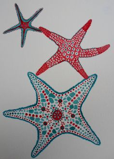 blue and coral starfish print