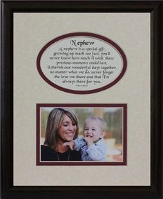 8x10 nephew picture poetry photo gift frame creamburgundy mat with black frame heartfelt keepsake picture frame